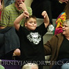 A young Bulldog fan taunts the Bobcats' fans.