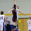 Parker Bean (black)  and Matt Koontz (white) in jump ball.