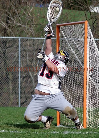 The South Western Mustang's Sam Price saves another goal. From 2010 03 26 Lacrosse Red Lion vs South Western.