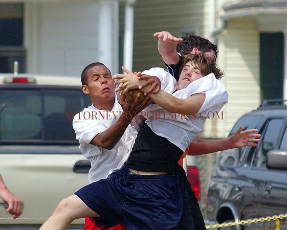 Bermudian Springs' Najee Shabazz on left. Leave a comment if you knwo the others' names. From 2010 06 26 Football Bermudian Springs and Littlestown 7 on 7