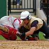 Ouch. Delone Catholic Squire Kody Reed slams and twists Bermudian Springs Eagle Kevin McManama.