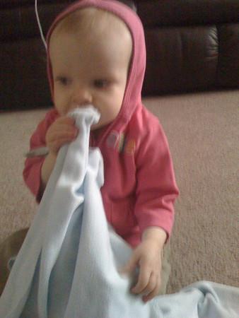 Mackenzie 10 months with Stinky