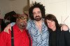"""NEW YORK - MARCH 15: ***EXCLUSIVE***  Cast members Stew (L) and Heidi Rodewald (R) pose with Founder and Lead Singer for the band Counting Crows Adam Duritz as he visits The Cast of """"Passing Strange"""" at The Belasco Theater on March 15, 2008 in New York City.  (Photo by Steve Mack/S.D. Mack Pictures) *** Local Caption *** Stew;Adam Duritz;Heidi Rodewald"""