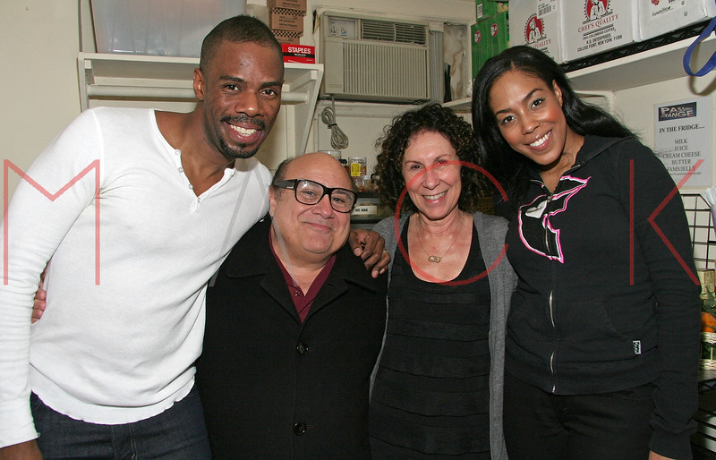 NEW YORK - MARCH 07:  Colman Domingo (L) and de'Adre Aziza (R) pose backstage as Danny Devito & Rhea Pearlman Visit The Cast of Passing Strange at The Belasco Theater on March 7, 2008 in New York City.  (Photo by Steve Mack/S.D. Mack Pictures) *** EXCLUSIVE COVERAGE *** Colman Domingo; de'Adre Aziza; Danny Devito; Rhea Pearlman; de'Adre Aziza