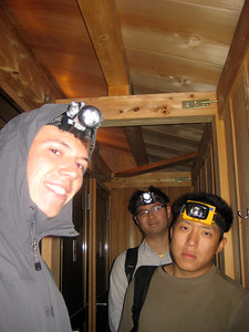 Freezing - we snuck into these cabins to warm up before being asked to leave by the hotel operators