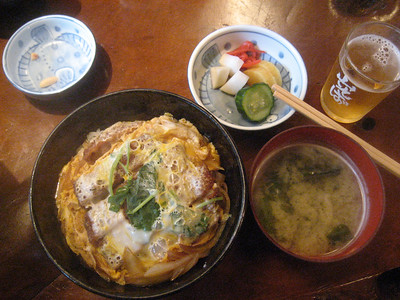 Lunch after onsen - katsu-don and the free beer that some Japanese family bought us after they kicked us out of our original table