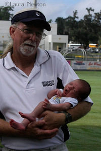 Grandpa introducing 2 week old grandson Luca to his first cross country meet!