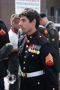 Marine Corp veteran, part of a group of veterans opposed to the Iraq War, being interviewed by the media at the 2008 Democratic National Convention in Denver.