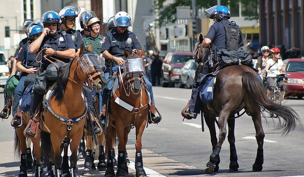 Police on horseback, on duty at the 2008 Democratic National convention in Denver.