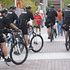 Police on patrol on bicycles at the 2008 Democratic Convention in Denver.