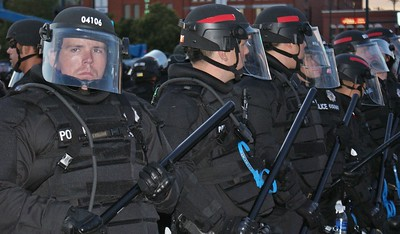 Police in riot gear in formation while on duty at the 2008 Democratic National Convention, in Denver, Co.