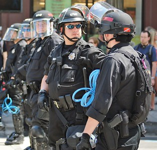 Police in  riot gear, on duty at the 2008 Democratic National Convention, in Denver, Co.