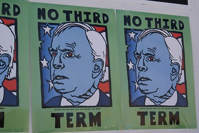 Anti John McCain poster on wall at 2008 DNC in Denver.