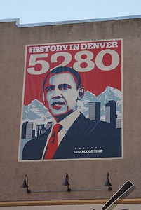 Then Senator Barack Obama, pictured on a large poster on the side of a building in Denver during the 2008 Democratic National Convention.