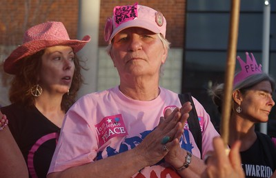 "Members of ""Code Pink"" were among anti Iraq war protesters at the 2008 DNC in Denver."