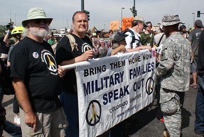 "Members of ""Military Families Speak Out"" were among protesters at the 2008 Democratic National Convention in Denver who joined a march against the Iraq war."