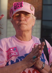 "Member of ""Code Pink"" was among anti Iraq war protesters at the 2008 DNC in Denver."