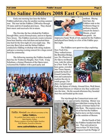 2008 East Coast Tour info