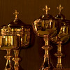 A photo of the sacred vessels 30 minutes before Mass.  Soon they will be covered.