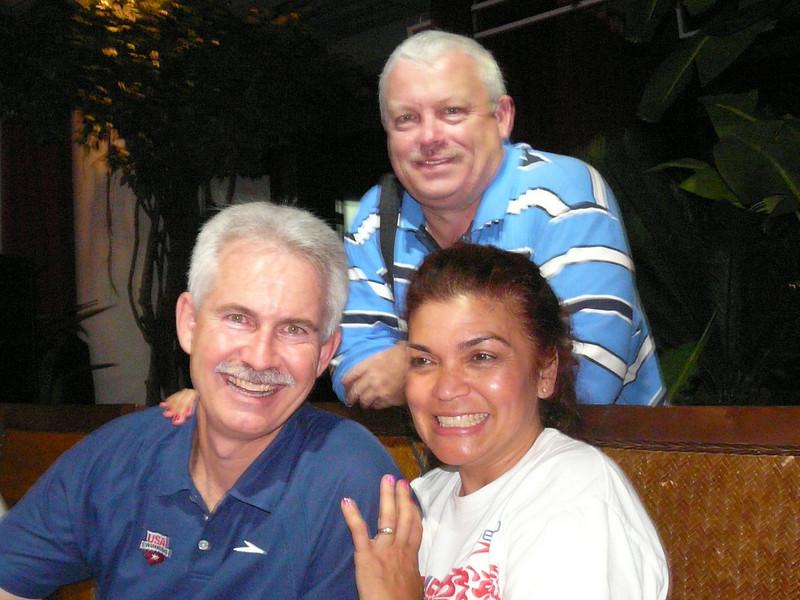 Tom, Jim, Zennie at Speedo dinner for Team USA