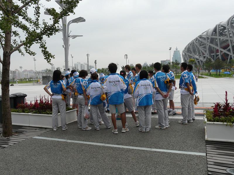 volunteers being briefed