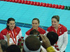 Natalie in middle, silver 4X100 freestyle relay