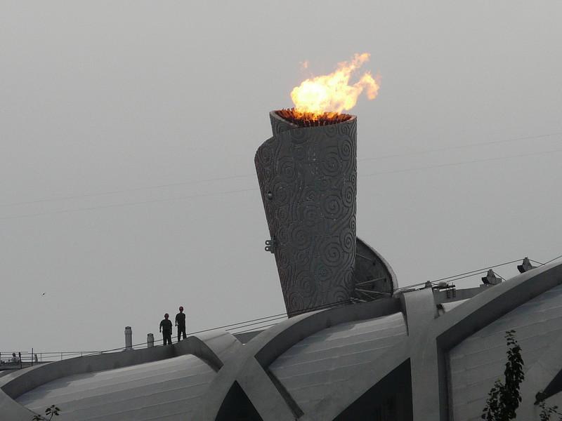Olympic Torch atop Bird's Nest Stadium