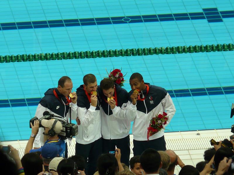 USA Men- gold medal in 4X100 freestyle--Lezak on left