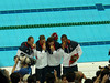 USA Men- gold medal in 4X100 freestyle--Lezak on left
