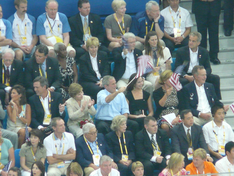 President Bush cheers on relay swimmers
