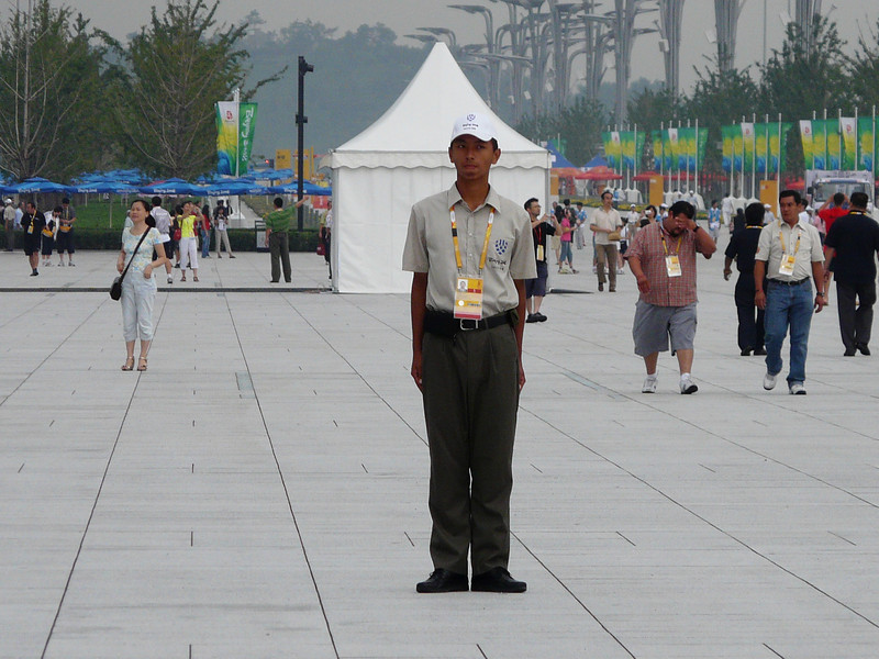 security guards stationed about every 100 feet on morning of Aug 10--at attention at that