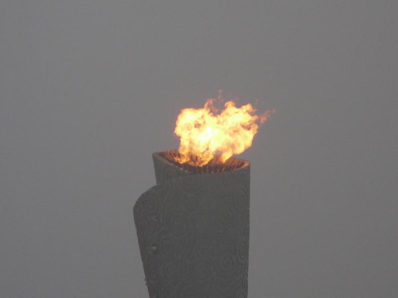 Olympic Torch atop Bird's Nest