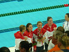 silver medal 4X100 freestyle relay (Natalie with flowers)