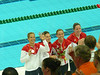 4X100 freestyle relay silver medal, Natalie with flowers