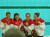 4X100 freestyle relay silver medal-Dara Torres on left, Natalie second from right