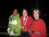 Angie, Charli & Laura celebrate at the finish line.