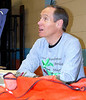 Pat Brown, race director of the 2008 (and many previous) George Washington's Birthday Marathon, in a moment of relative calm before the race begins.         Photo by Mark Zimmerman
