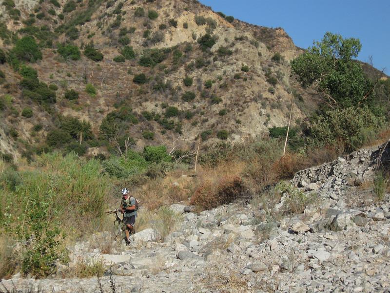 Hike a bike across the river bed