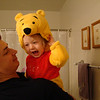 Abby trying on her Winnie the Pooh costume