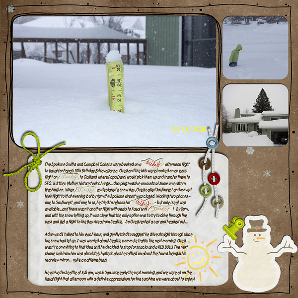 Template, journaling block, borders, clip and tie from Life 365 (Gina Marie Huff)<br /> Paper, buttons and Snowman from Snow Buddies (FruitLoOp Sally, Digital Couture - Inspiration Lane)<br /> Sun doodle from Sunshine (Sarah Kendall)