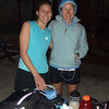 "Leslie and I getting geared up to run.  The big question, as always, was, ""What do we wear?"""