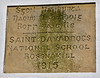Here is the plaque on the front of the school