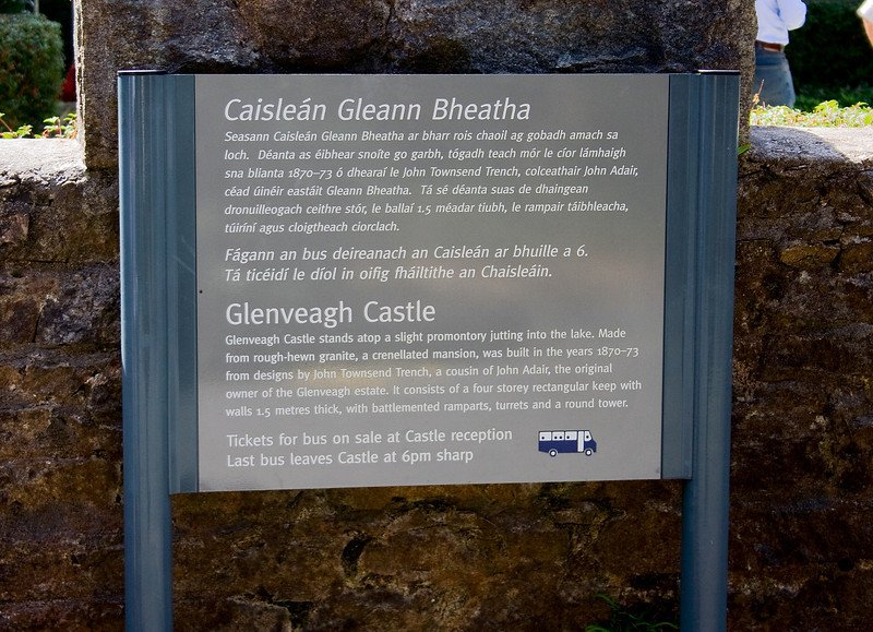 Entrance sign at Glenveagh Castle