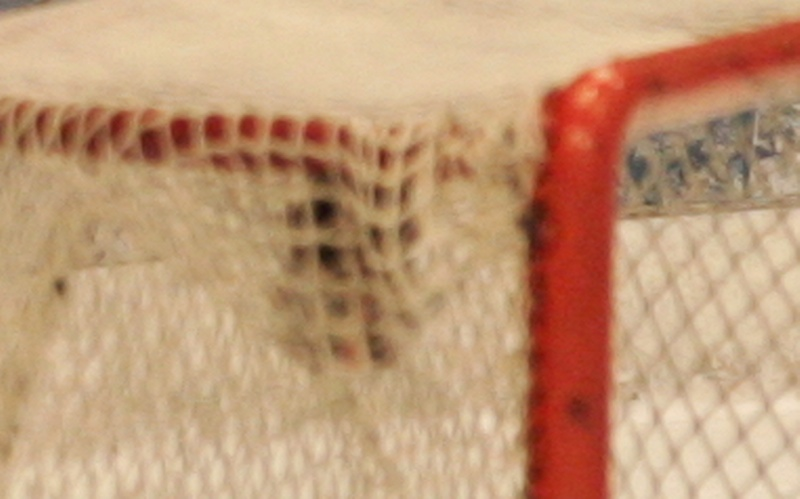 Enlargement of the area inside the goal taken from the second photo (1/10th second later).