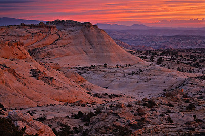 Navajo Slickrock sunrise - Grand Staircase of the Escalante, Utah View north from Hwy 12 overlook.