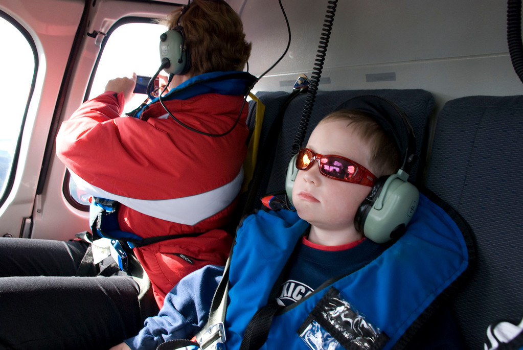 Next up, a helicopter to dog sledding camp.  Lars looked way cool in his life jacket and headphones.