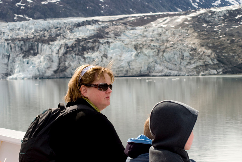Susan and the kids watching the glaciers roll by.