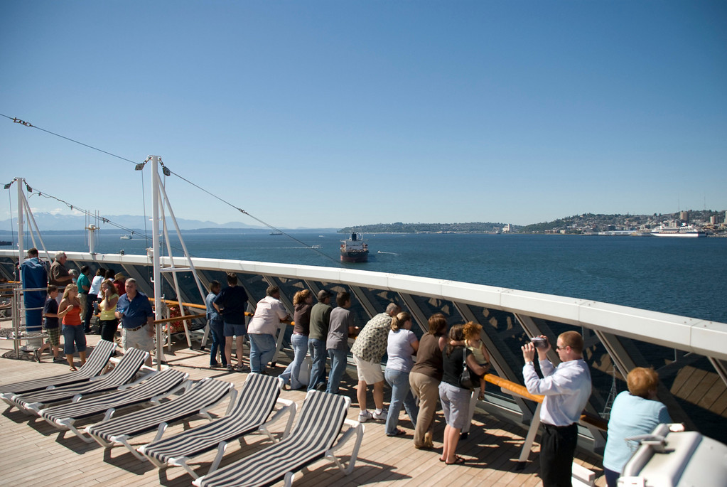 Lots of folks watching Seattle go by on a beautiful day.  And yes I was standing on the railing...
