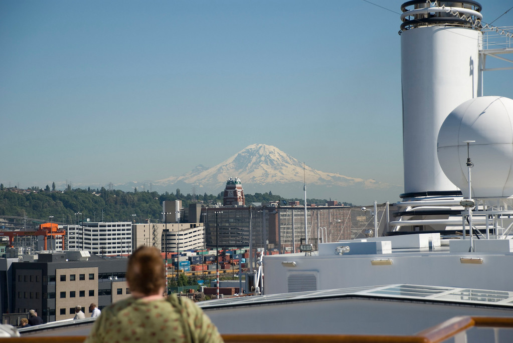 """Mt Rainier and """"Sodo"""" over the roof of the boat."""