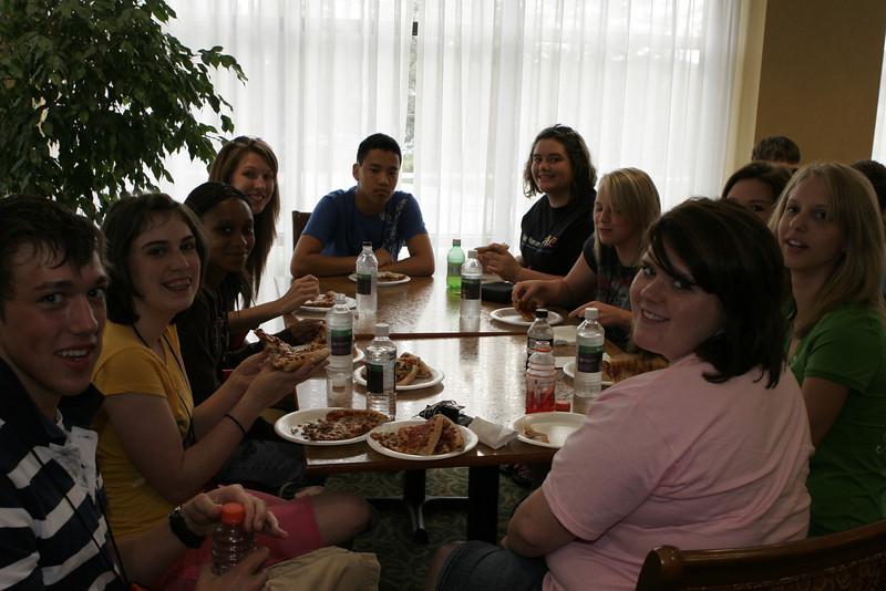 Pizza party at Knoxville, TN Hampton Inn